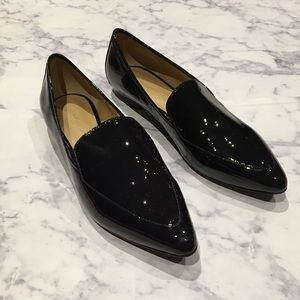 Navy Patent Leather Pointy Loafers